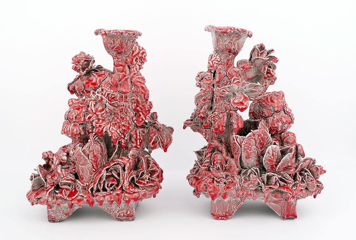 Tony Sonnenberg, A Pair of Candelabras (Jolly Rancher Red)
