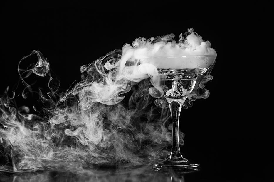 Martini glass with smoke